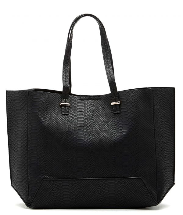 Angela Snake Tote Shopper Bag BLACK