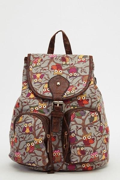 owl-printed-backpack-grey-multi
