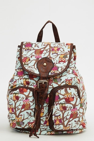 owl-printed-backpack-mint