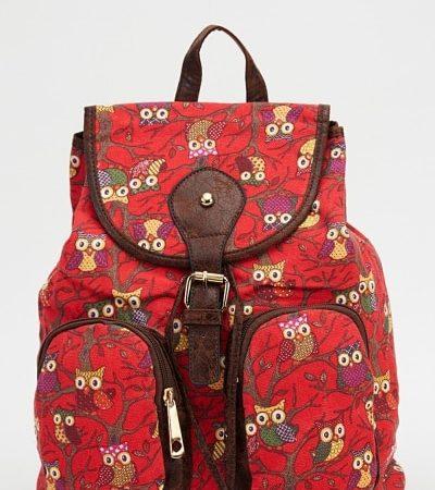 owl-printed-backpack-red-multi