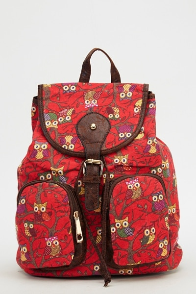 owl-printed-backpack-red-multi