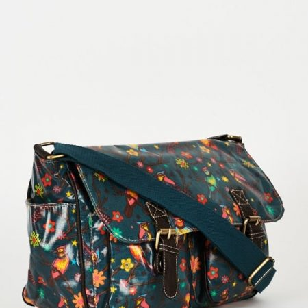 Birds Pattern Zip Fastening Green Satchel Bag