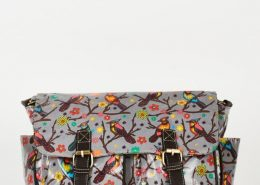 Birds Pattern Zip Fastening Grey Satchel Bag