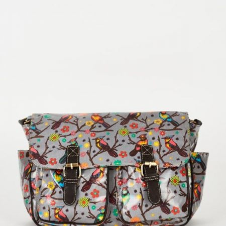 Birds Pattern Zip Fastening Grey Satchel Bag