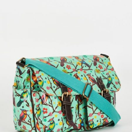 Birds Pattern Zip Fastening Light Green Satchel Bag
