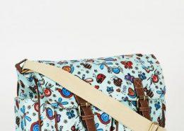 Bugs Pattern Zip Fastening Blue Satchel Bag