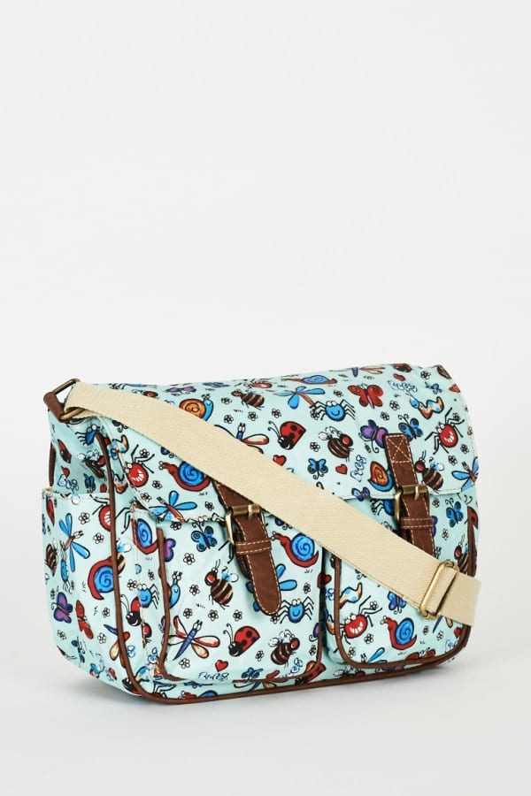 Bugs Pattern Zip Fastening Blue Satchel Bag
