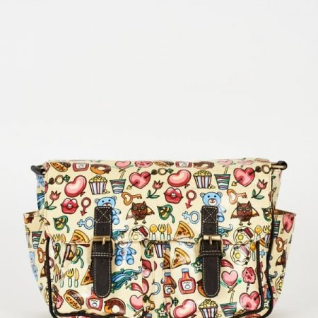Cream Printed Zip Fastening Satchel Bag