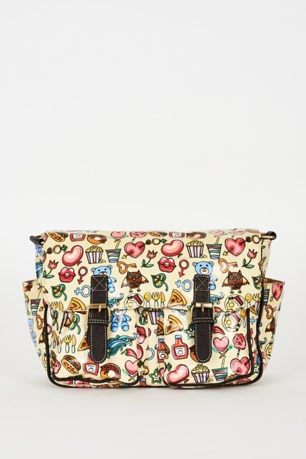 Cream Printed Zip Fastening Satchel Bag