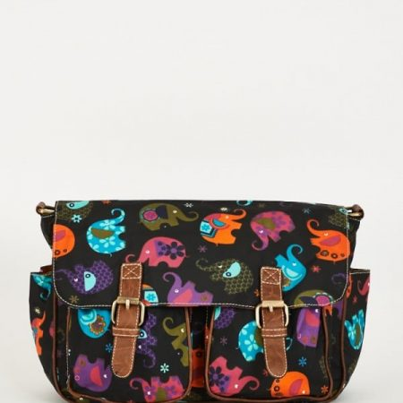 Elephants Pattern Zip Fastening Black Satchel Bag