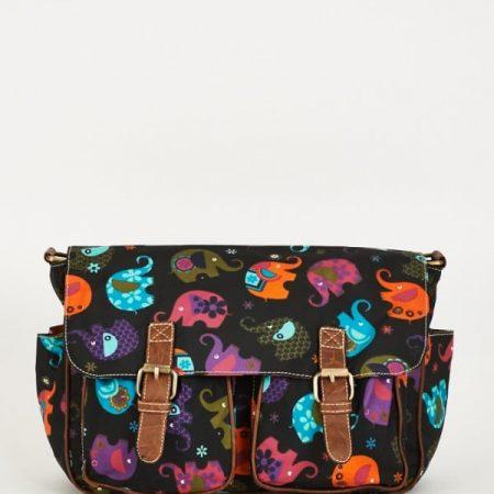 Elephants Pattern Zip Fastening Black Satchel Bag