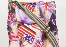 Flag Pattern Purple Canvas Messenger Bag