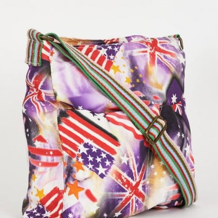 Flag Pattern Purple Canvas Messenger Bag