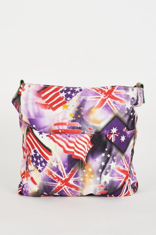 Flag Pattern Purple Canvas Messenger Bag Ladies Handbags