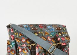 Grey Printed Zip Fastening Satchel Bag