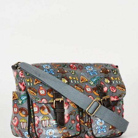 Grey Printed Zip Fastening Satchel Bag
