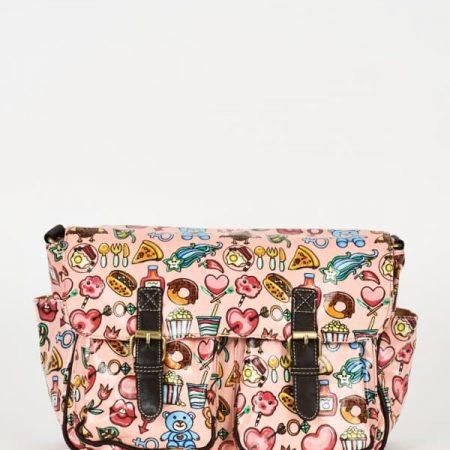 Pink Printed Zip Fastening Satchel Bag