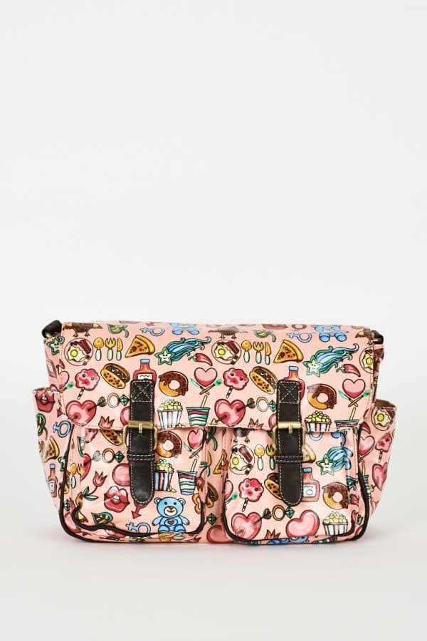 Pink Printed Zip Fastening Satchel Bag