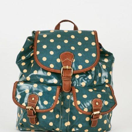 Teal Polka Dot Backpack Design Bag