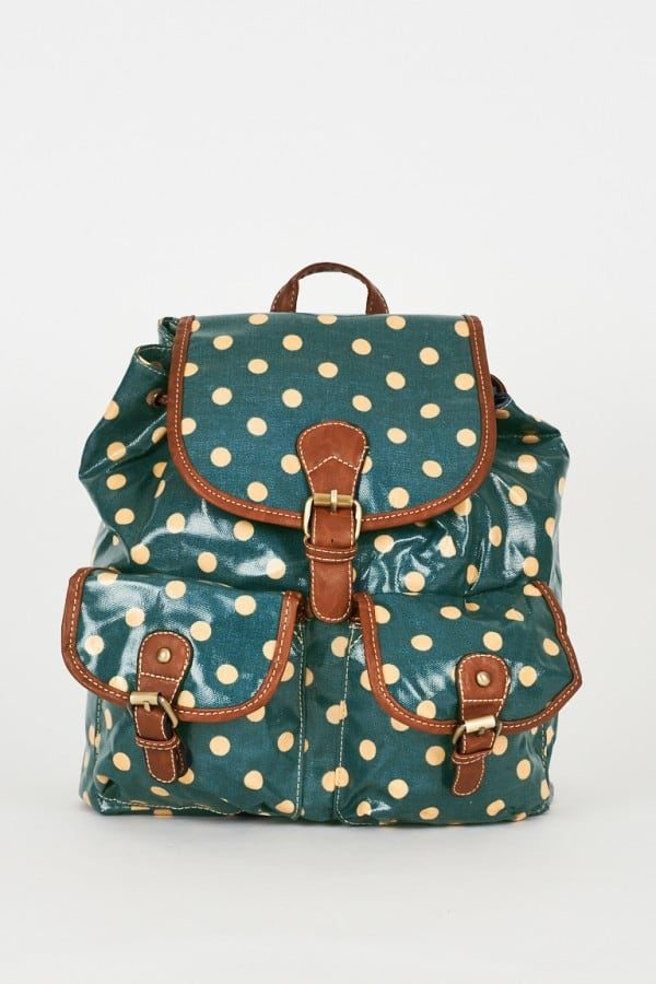 Teal Polka Dot Backpack Design Bag