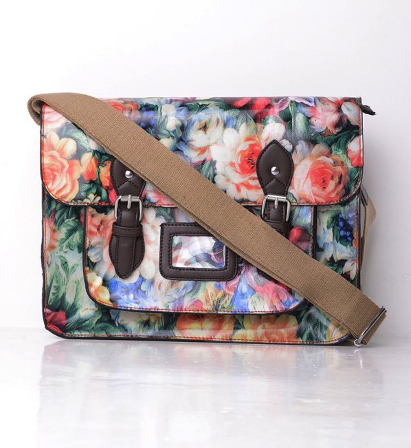 All-Over Floral Print Satchel in Red College and School Bags