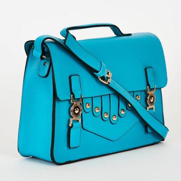 Turquoise Blue Front Design Smart Satchel Bag