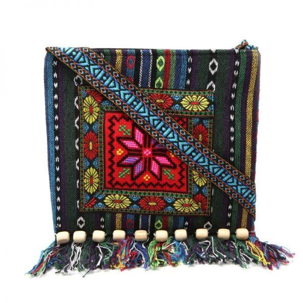 Unique Vintage Ethnic Shoulder Bag Embroidery Hippie Boho Tote Tassel Messenger RED