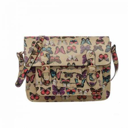 beige butterfly satchel bags