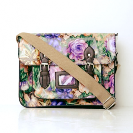 All over floral print satchel purple college and school bags