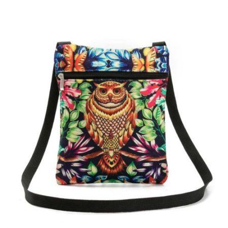 Lovely Flap Shoulder Bag 3D Owl Printed Dacron Messenger Bag Daily Shopping Bag