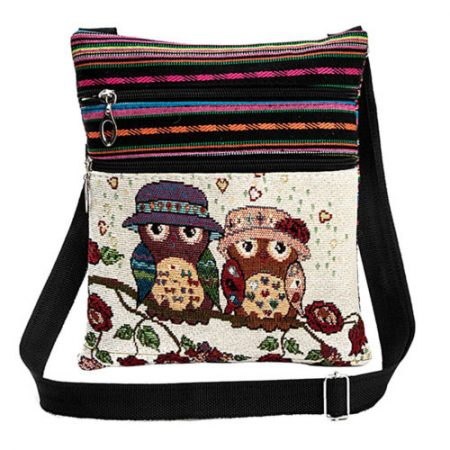 New Tote Handbags Women Shoulder Bags Embroidered Owl Pattern Postman Package
