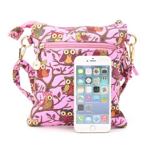 Women Fashion Canvas Handbag Owl Printing Tote Bag Shoulder Bag Zippers Handbag