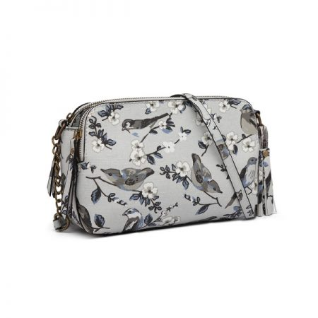 CANVAS BIRD PRINT TASSEL CROSSBODY BAG SHOULDER BAG BEIGE