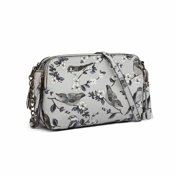 CANVAS BIRD PRINT TASSEL CROSSBODY BAG SHOULDER BAG BEIGE