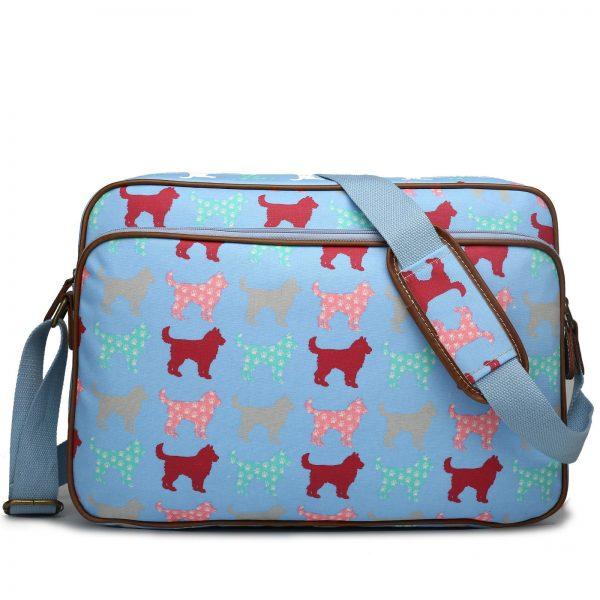 Matte Oilcloth Dog/Cat Printed Satchel Messenger Cross Body Shoulder Bag