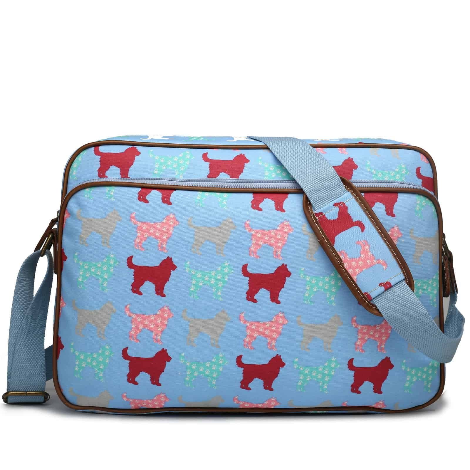 Matte Oilcloth Dog/Cat Printed Satchel Messenger Cross Body Shoulder Bag