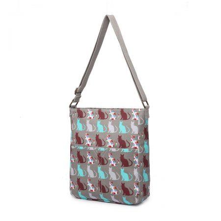 Cat-Grey-WOMEN CROSS BODY SHOULDER BAG CANVAS