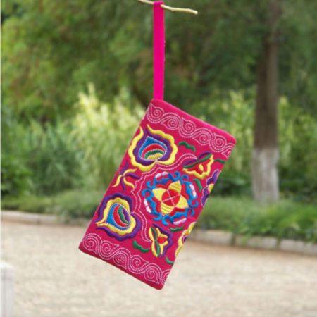 Women Ethnic Handmade Coin Purse Embroidered Wristlet Clutch Bag Vintage Wallet