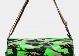 NEON GREEN CAMOUFLAGE PRINT LARGE SATCHEL BAG