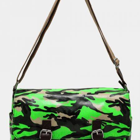 NEON GREEN CAMOUFLAGE PRINT LARGE SATCHEL BAG