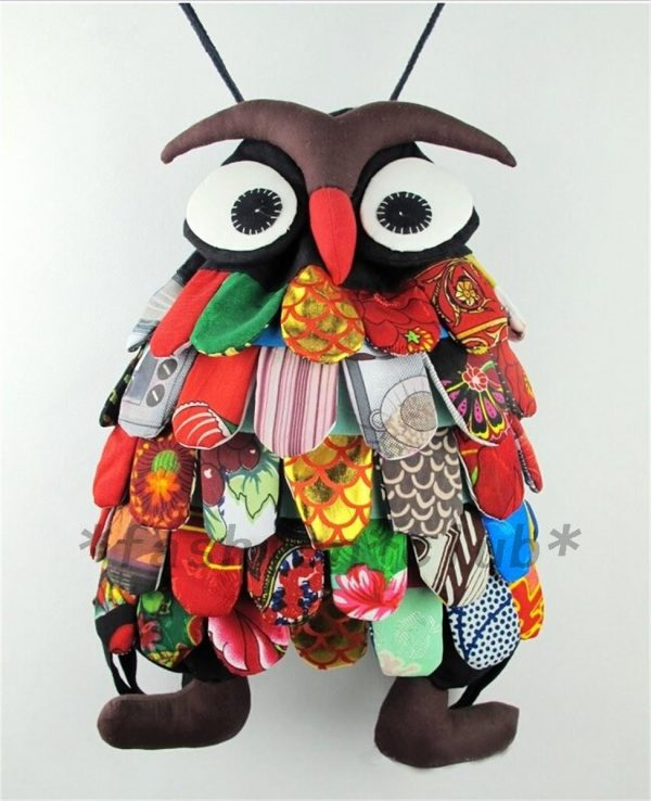 Cute Owl Kids Boys Girls Children Backpack Purse School Bag Satchel Handmade RED
