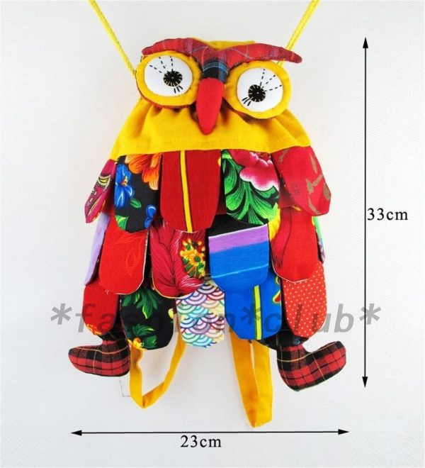 Cute Owl Kids Boys Girls Children Backpack Purse School Bag Satchel Handmade