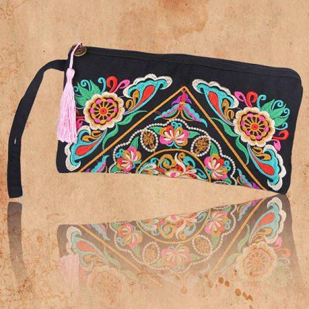 Retro Boho Ethnic Embroidered Wristlet Clutch Bag Handmade Purse Wallet Handbag