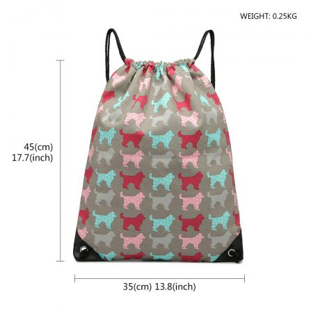 UNISEX DRAWSTRING CASUAL BACKPACK GYM BAG-grey
