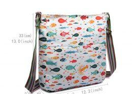 WOMEN CROSS BODY SHOULDER BAG CANVAS FISH PRINT