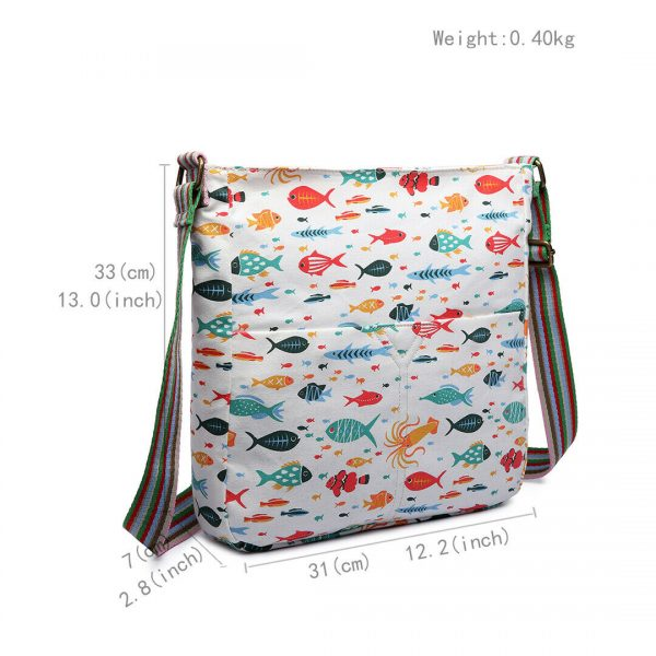 WOMEN CROSS BODY SHOULDER BAG CANVAS FISH PRINT