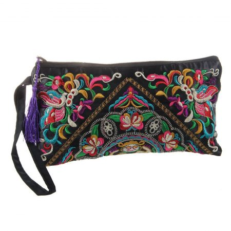 Women Vintage Wallet Embroider Purse Clutch Phone Bag Coin Tassel Handbag TG