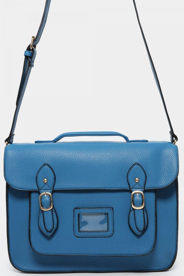 DOUBLE BUCKLE BLUE VEGAN LEATHER LARGE SATCHEL