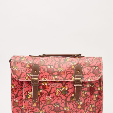 Large Satchel Owl Print Bag