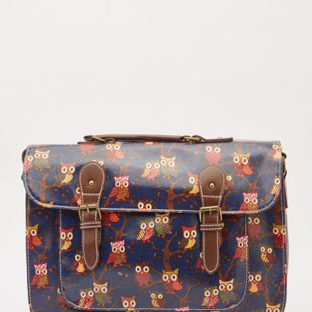 Large Satchel Owl Print Bag